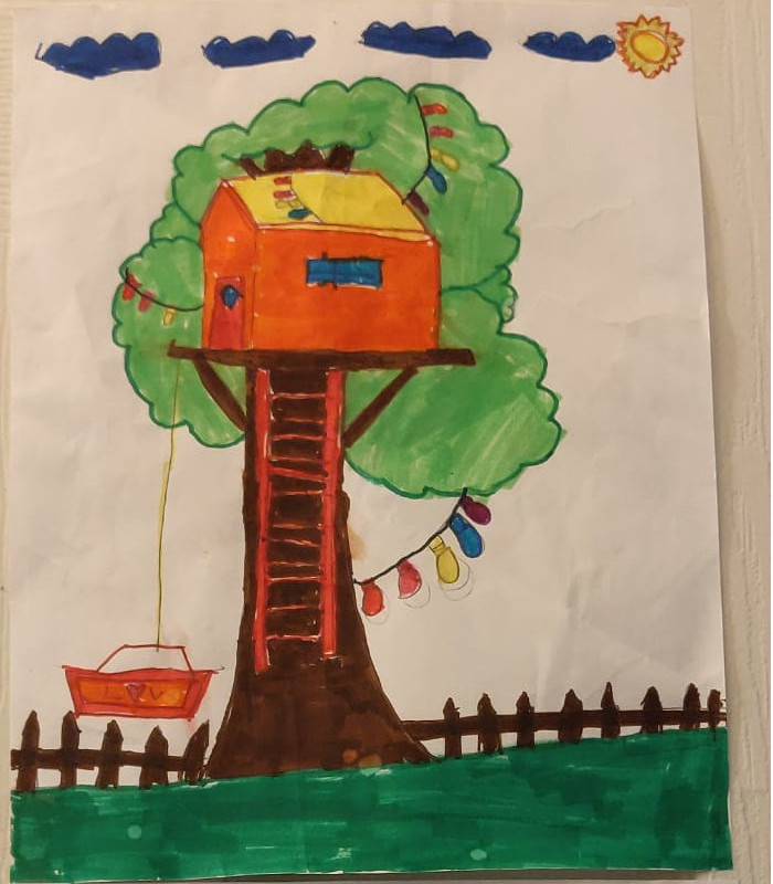 Tree house drawing by Tuvaritha