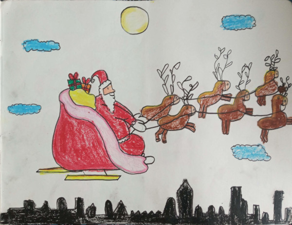 Santa claus  drawn by charu nethra